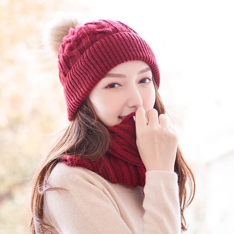 Winter Hat Scarf Set 2 Pcs Wool Angora Knit Beanie Autumn Warm Skiing Snow Outdoor Accessory For Lady