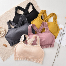 Lace Strap Women Tube Top Comfort Girls Wrapped Chest Breathable Fitness Bra Fashion Tops Strapless