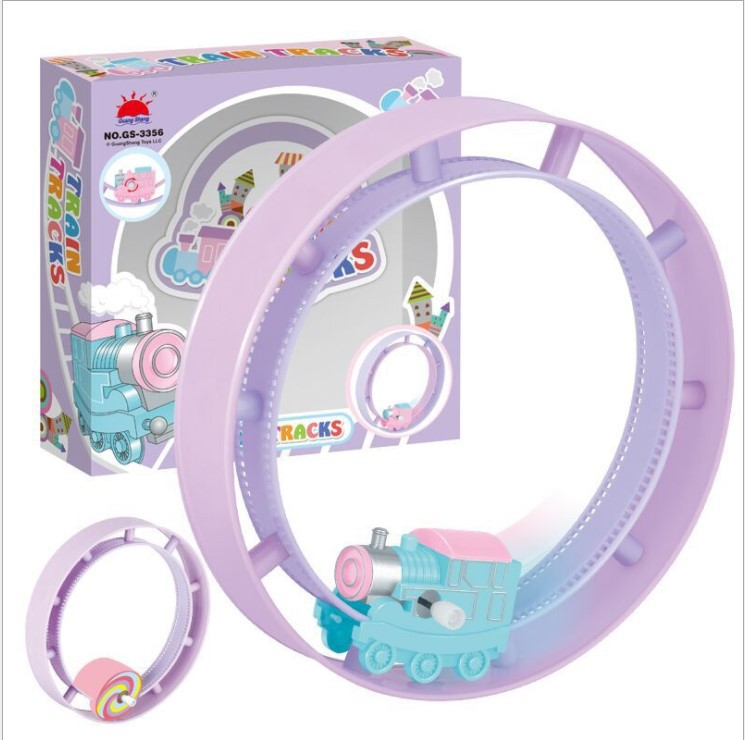 Cartoon Chain Small Train Camera Track Toy Roll Camera Track Spring Plastic Stall Children Creative Toy