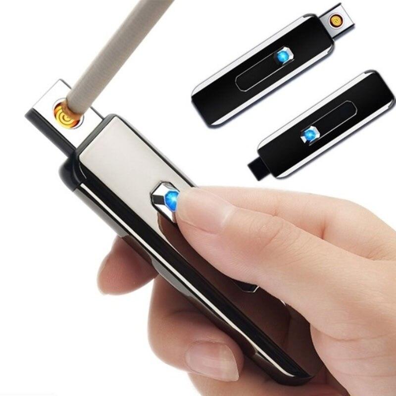 1 шт. сенсорный Экран Перезаряжаемые Зажигалка зарядка через USB зажигалки Беспламенное ветрозащитное металлическая электрическая зажигалк...