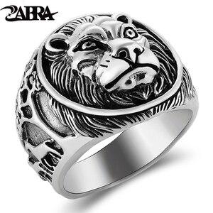 Image 1 - ZABRA 100% Реальное Твердое серебряное кольцо 925 мужское кольцо с Львом Винтажное кольцо в стиле стимпанк Ретро Байкерская бижутерия из стерлингового серебра мужское ювелирное изделие