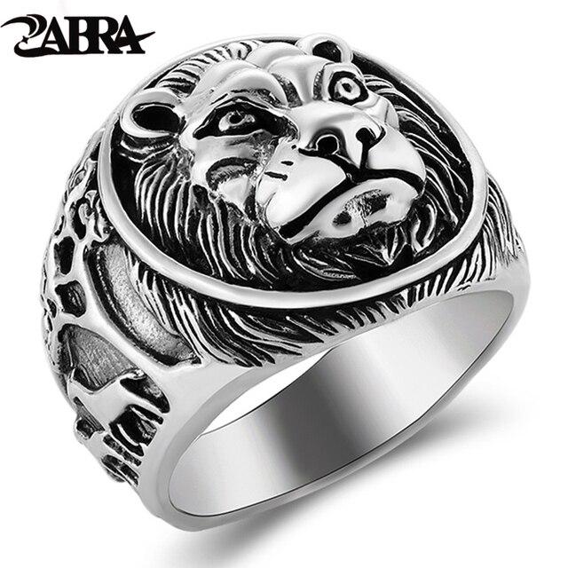 ZABRA 100% Реальное Твердое серебряное кольцо 925 мужское кольцо с Львом Винтажное кольцо в стиле стимпанк Ретро Байкерская бижутерия из стерлингового серебра мужское ювелирное изделие