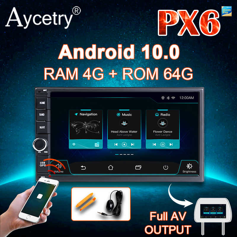 PX6 PX5 8 Core 4G + 64G Ips Dsp Android 10 Universele 2 Din Auto Radio Pc Multimedia speler Gps Navigatie Wifi Bt OBD2 Dvr Rds Dab +