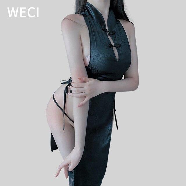 WECI Cheongsam Sexy Dresses Body Under Wear Erotic Women Silk Robes Tree Beautiful Slut Satin Role Play Classical Dance Costume 5