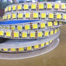 Luz de tira conduzida cct 5025 branco duplo quente branco & branco 2 em 1 chip 60/120leds dc12v/24v fita led cor tem ajustável tira conduzida