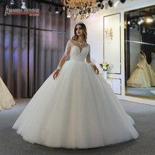 robe de mariee full beading long sleeves wedding dress puffy ball gown bride dress 2020