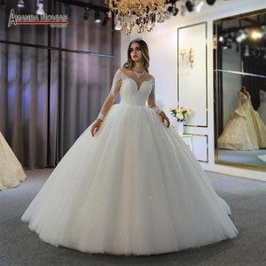 Image 1 - robe de mariee full beading long sleeves wedding dress puffy ball gown bride dress 2020