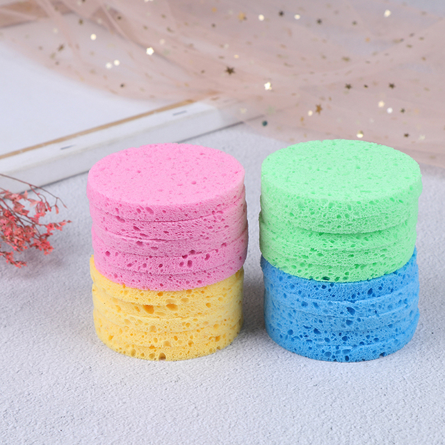 5pcs Natural Wood Round Solid Color Sponge Compress Cosmetic Puff Facial Washing Sponge Face Care Cleansing Makeup Tools NEW 2