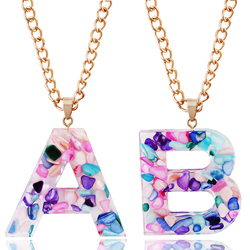 Kpop Fashion 26 Letter Necklace Name A-Z Chain Gold Initial Necklace Pendant Women's Friendship Couple Jewelry Gift Wholesale