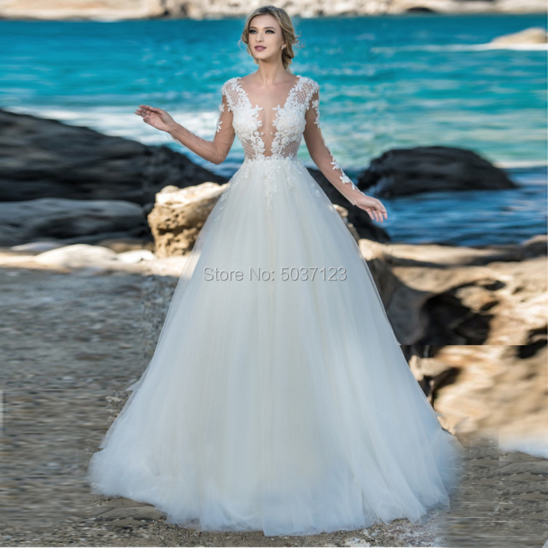 Deep V Neck Beach A Line Wedding Dresses Long Sleeves Lace Appliques Bridal Gown Sweep Train Button Backless Vestido De Noiva