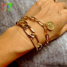 Golden Bangle Bracelets Jewelry Charms Cuban Chain Coins Punk Vintage Women Hot F.J4Z