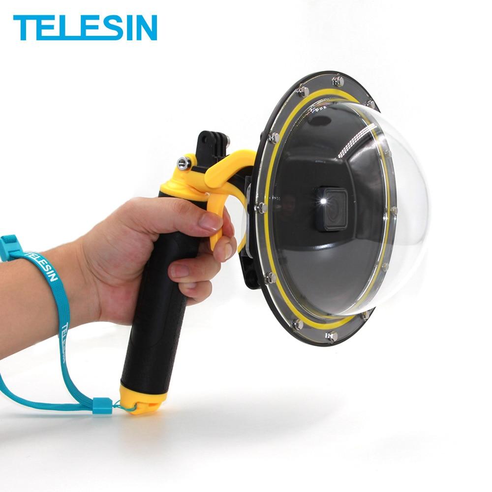 TELESIN 6 Dome Port Waterproof Case Floating Trigger Dome for GoPro Hero 4 Hero 3 Hero