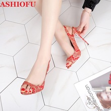 ASHIOFU Hot Sale Ladies High Heel Sandals 2020 New Fashion Red Lace Stiletto Slingback Real Photos Evening Club Shoes