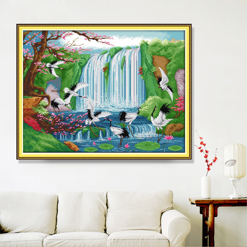 Natural scenery landscape scenery DIY cross stitch embroidery set bird fairy crane print cross stitch home decoration painting-2