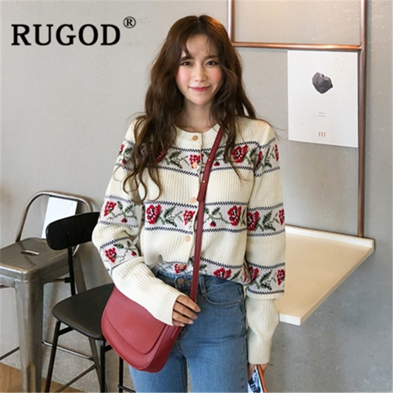 RUGOD 2019 New Autumn Snow Sweater Cardigans Women Rose Pattern Vintage Slim Knit Coat Fashion Femme Elegant Chic Sweet Sweater