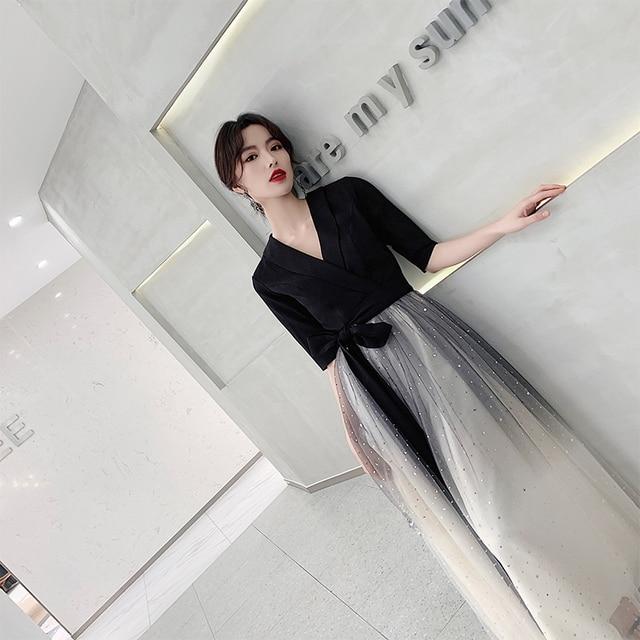 Black Mesh Qipao Women Elegant Sequins Patchwork Evening Party Dress Sexy Bowknot V-neck Slim Cheongsam Vestidos De Festa 2