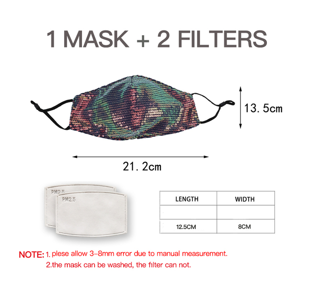 Laser Sequins Mouth Face Mask Colorful Fashion Mask Washable Reusable Mouth Face Mask Unisex Korean Mascarillas with 2pcs Filter 1