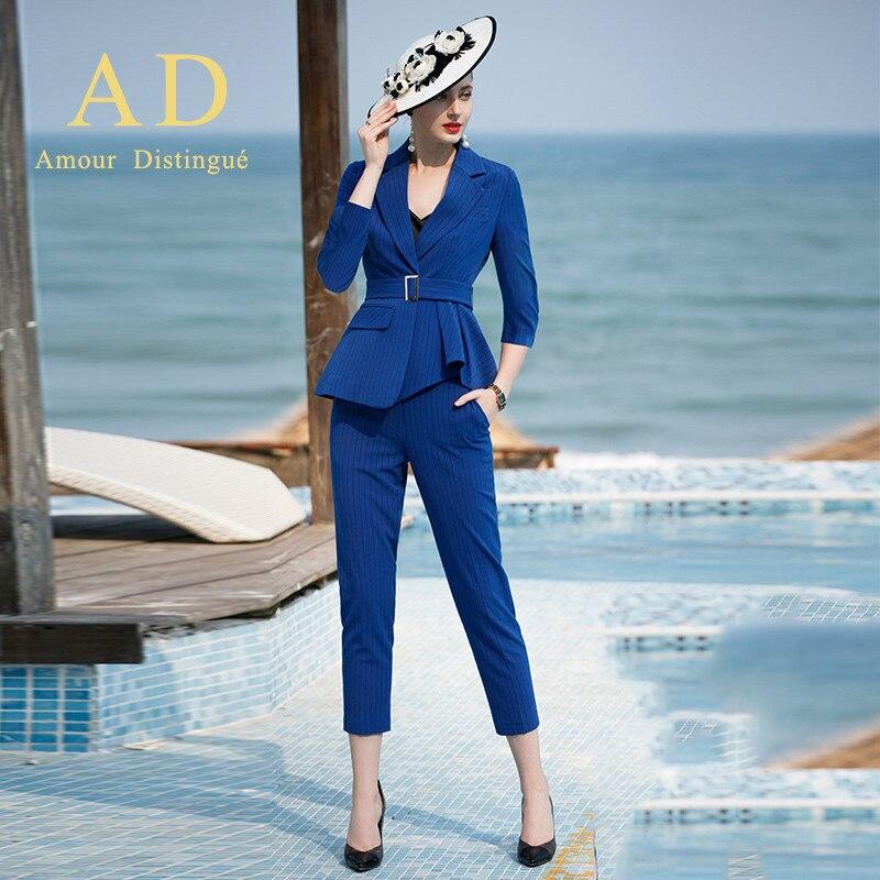 Women S Office Suits Set Professional Female Business Lady Suit Plus Size Blue Stripe Blazer Pant Designer Tailor 2019 Free Ship