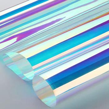 HOHOFILM tęczowa folia okienna opalizująca naklejka okienna do restauracji domowej naklejka samoprzylepna piękna naklejka samoprzylepna tanie i dobre opinie CN (pochodzenie) Samoprzylepne HR012 Folie na szyby DEKORACYJNY izolacja cieplna Iridescent window film Self-Adhesive rainbow