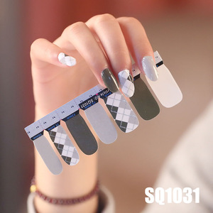 Image 2 - 14tips/лист Корейская версия многоцветные наклейки ногтей Обертывания полное покрытие лак для ногтей наклейки сделай сам аппарат для крепления на гвоздях и художественное оформление