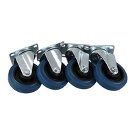 4 Pack Small Caster Rotary Disc Caster Swivel Caster Industrial Caster Blue Polyurethane Wheel