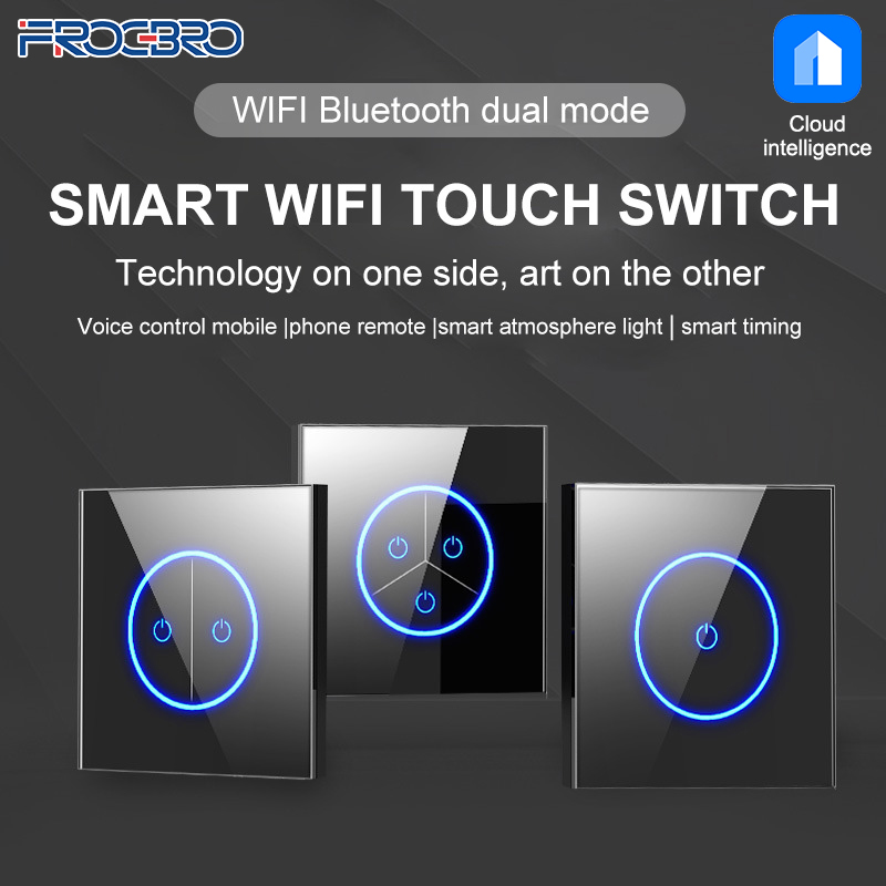 FROGBRO 10A Wifi Smart Home Control Smart House Light wall Switch Touch Switches Remote Controller Voice Control Wireless Google