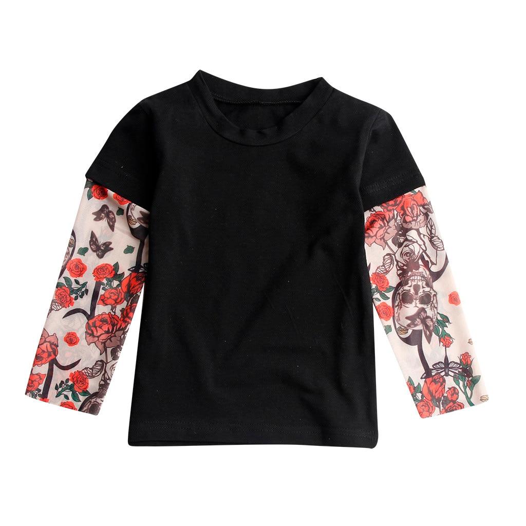 Детская футболка для маленьких мальчиков с сеткой, с принтом тату, с рукавами, с цветочным принтом, футболка для детей, в стиле хип-хоп, рок, детские комбинезоны для малышей - Цвет: Черный