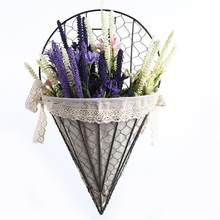 Fan Shape Iron Art Rattan Woven Flower Basket Tapered Iron Frame Cloth Hanging Flower Basket Wall Mounted Hanging Flower Holder(China)