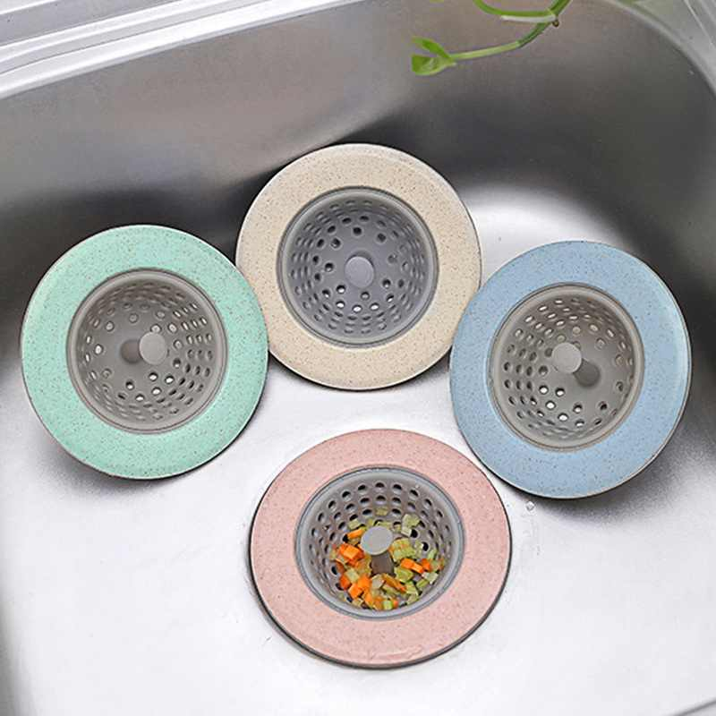 Kitchen Sink Drain Plugs Strainers Kitchen Accessory Silicone Sewer Hair Filter Collect Bath Drain Stopper Sink Floor Drain Plug