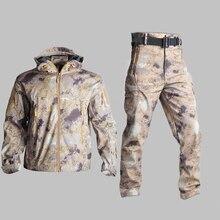 في الهواء الطلق الصيد معطف للرياضة Waterrpoof العسكرية التكتيكية سترة السراويل الحرارية تسلق سوفتشيل الجيش التمويه ملابس خارجية