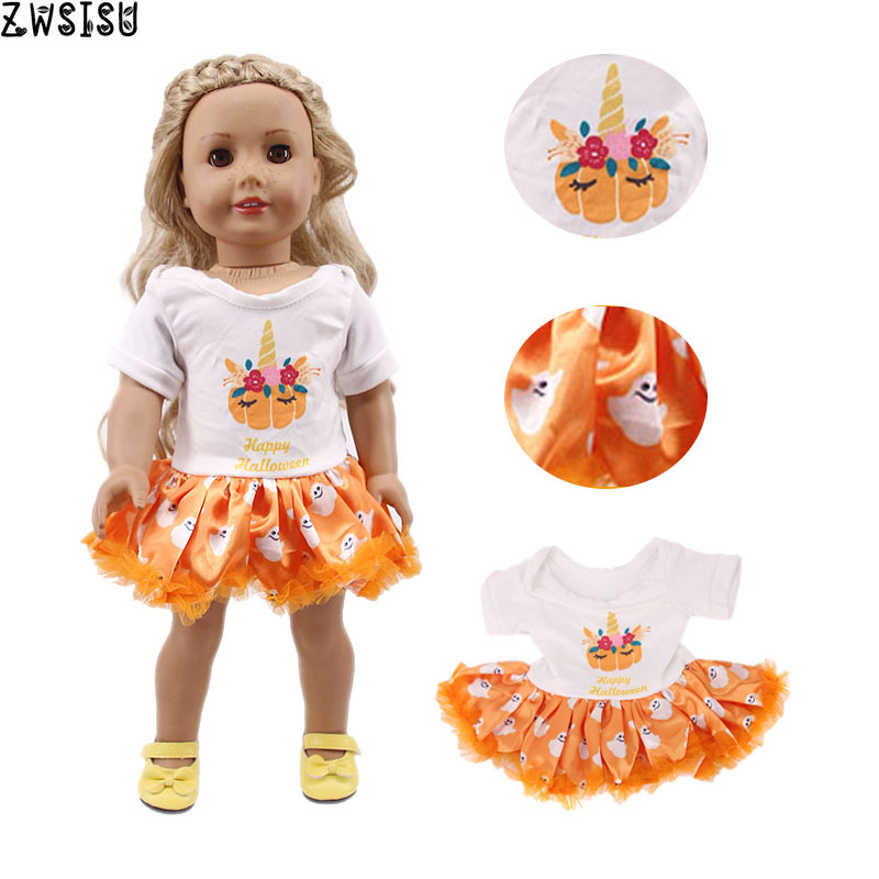 Doll Clothes Halloween 14  Sets Available Unicorn Pumpkin Dress For 18 Inch American&43 Cm Baby Doll Generation Girl`s Toy