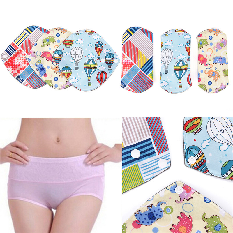 Washable Bamboo Charcoal Cloth Menstruation Postpartum Hygiene Panty Liner Pad Print Catoon Reusable Sanitary Pads Menstrual Pad