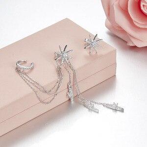 Image 4 - SLJELY marka 925 srebro grzywny projektant mikro cyrkonia długi Tassel gwiazda AB kolczyki kobiety moda seksowna biżuteria