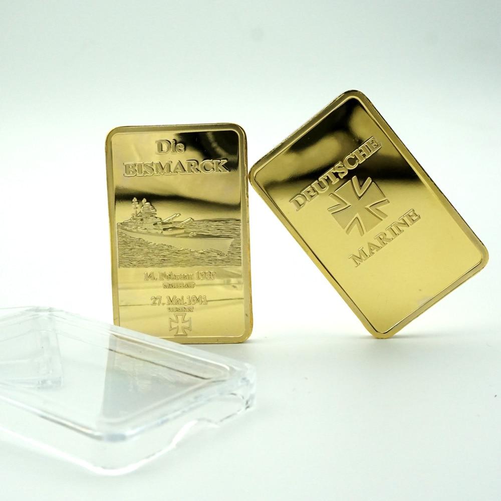 German Die Bismarck Battleship Gold Plated Bullion Bar/Coins 1OZ Germany Navy Deutsche Marine Gold Bar Souvenir gilding Coin