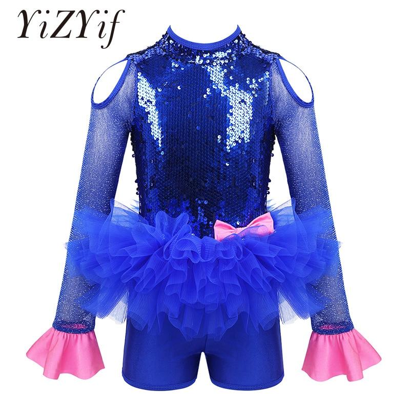Girls Sequins Jazz Ballet Dance Costume Leotards Jumpsuit Shiny Tulle Long Sleeves Cutout Bowknot Ballet Tutu Dress Jazz Costume