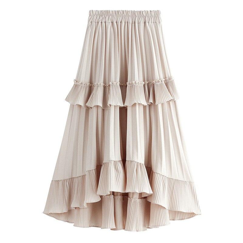 Short Front Long Back Cake Style Irregular Skirt WF0047 Rokjes Dames Women Ladies Ruffles Black White Long Pleated Skirt