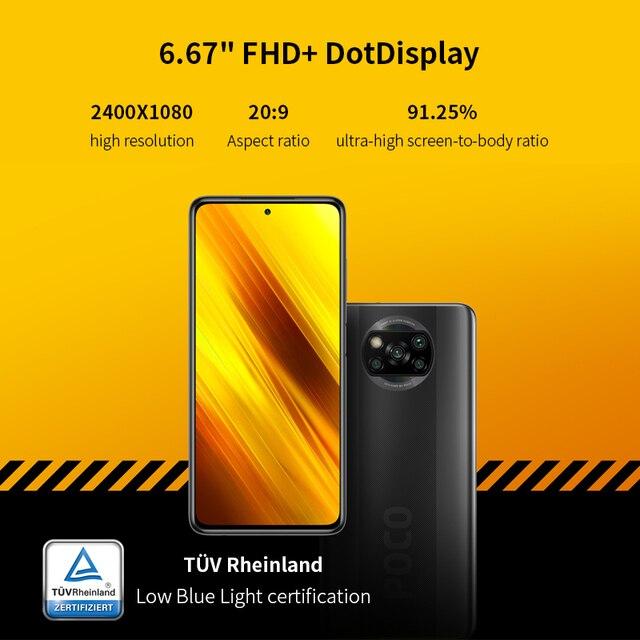 "POCO X3 6GB+64GB Xiaomi Smartphone Snapdragon 732G Octa Core 6.67"" Pocophone with 64MP Quad Camera FHD+ Display120Hz 5160mAh 6"