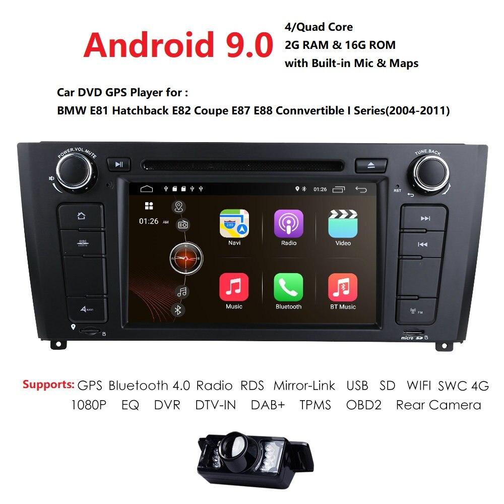1 Din Android 9.0 autoradio GPS multimédia dvd-speler Voor pour BMW 1 série E81 E82 E87 E88 I20 2004-2011 2G Ram 16G ROM BT Wifi