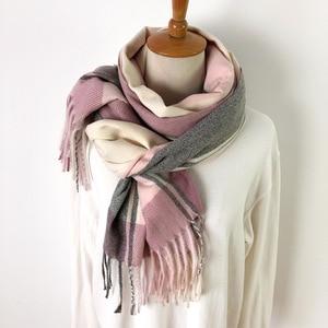 Image 3 - Winter Soft Warm Wool Brand Plaid Scarf 2019 New Design Cashmere Scarf Women Fashion Shawl For Ladies Scarves Wraps Pashmina