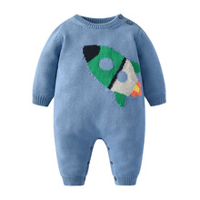 Newborn Rompers for Baby Boys Cartoon Knitted Jumpsuits Autumn Winter Warm Toddler Infant Girls Overalls One Pieces Kids Sweater цена и фото