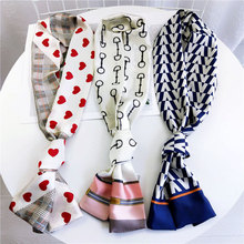The New Long Neckerchief xiao si jin Wild Double-Sided Scarf Decorations Fashion Necktie Scarf