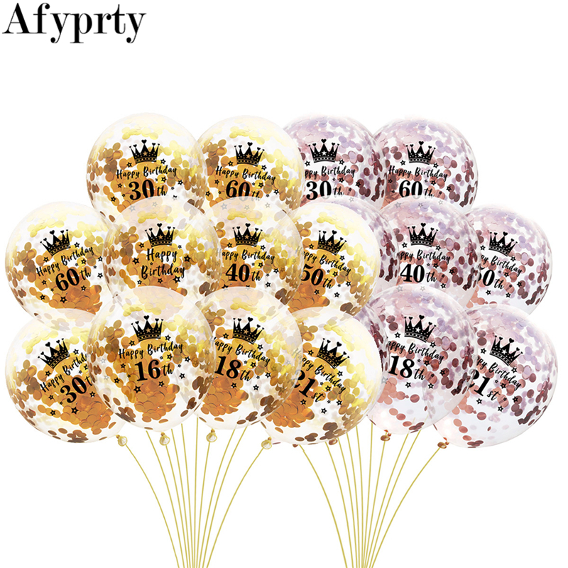 5pcs Rose Gold Confetti Latex Balloons Number <font><b>Birthday</b></font> Balloon <font><b>Happy</b></font> 18 21 30 40 <font><b>50</b></font> 60th <font><b>Birthday</b></font> Party Supplies Inflatable Ball image