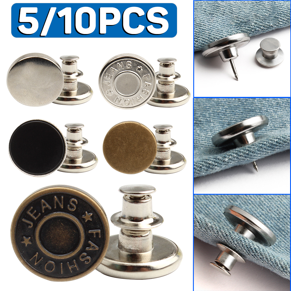 5/10pcs Adjustable Jeans Buttons Metal Rivet Buttons Detachable Snap Button For Jeans Nail Free Diy Sewing Clothes Accessories Quality And Quantity Assured