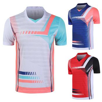 Nowe sportowe koszule do badmintona męskie koszulki do biegania damskie koszulki sportowe koszulki do tenisa stołowego sportowe koszulki z krótkim rękawem tanie i dobre opinie ZISURON Poliester Szybkie suche Oddychające Przeciwzmarszczkowy Pasuje prawda na wymiar weź swój normalny rozmiar Dzianiny
