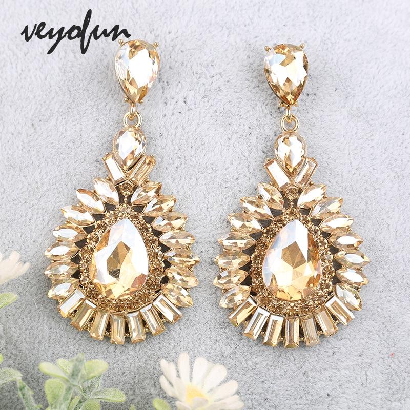 Veyofun Classic Crystal Drop Earrings Hyperbole Bridal Dangle Earrings Fashion Jewelry for Women Gift New