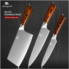 Shuangmali 3PCS Kitchen Cooking Knife Set 5Cr15 Stainless Steel Chef Slicing Knives Peeling Chinese Vegetable Cleaver Knife