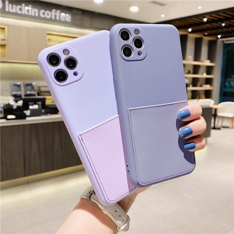 Candy Color Liquid Silicone Phone Case For iPhone 12 Mini 11 Pro MAX XR XS 7 8 Plus SE20 Soft Card Sleeve Pocket Back Cover Gift