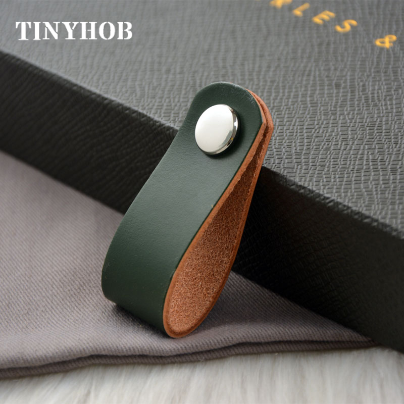 6 Colors/Leather + Brass Knob And Handle Simple Cabinet Handles Nordic Drawer Pulls Furniture Handles Multi Color
