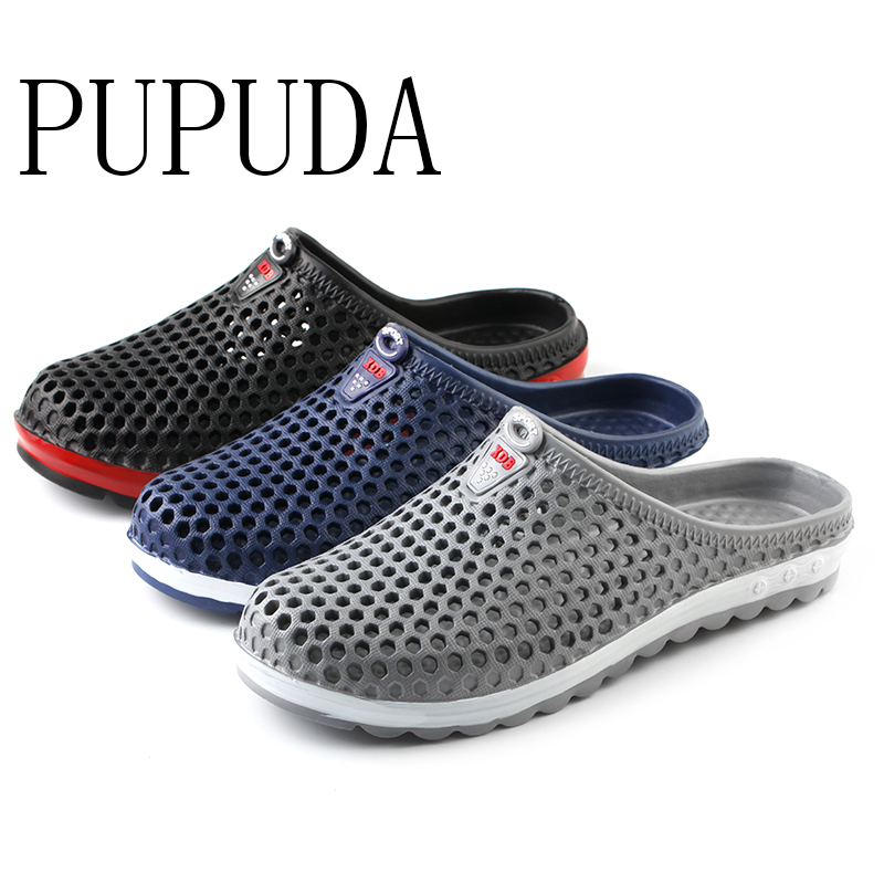 PUPUDA Outdoor Men Slippers Breathable Soft Home Slippers Comfortable Beach Shoes Men New Good Quality House Garden Shoes Summer