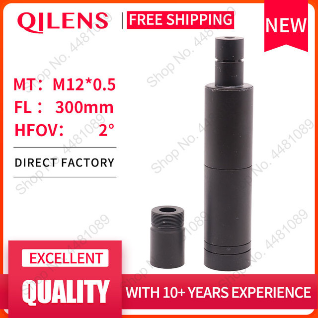 QILENS lentille de caméra CCTV 300mm, Format dimage 1/3 pouces, longue Distance de visionnement M12, Angle de vue Horizontal 1.15D de mise au point manuelle